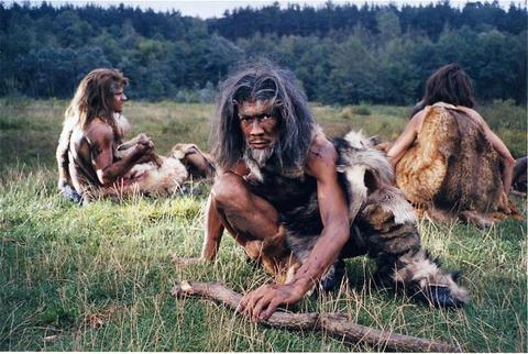 Cavemen eating