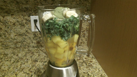 fruits and veggies in a blender