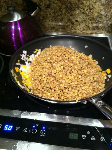 lentils in a skillet